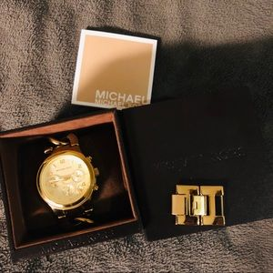 Michael Kors Accessories - SOLD * Michael Kors Runway Twist Gold Chain Watch